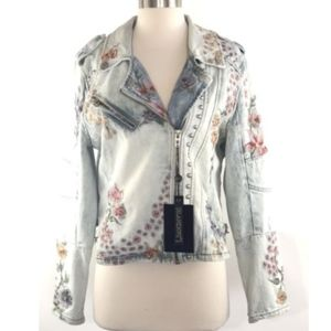 BLANK NYC Floral Embroidered Denim Moto Jacket